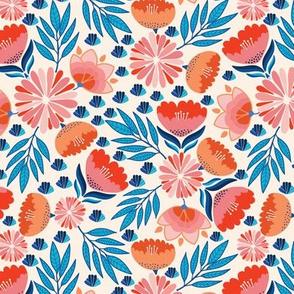 Pink Blue Flowers on Beige