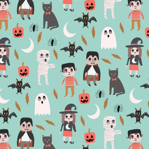 Halloween town fabric, cute creepy scary Halloween fabric, ghost fabric, witch fabric, cat fabric - mint