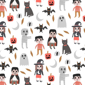 Halloween town fabric, cute creepy scary Halloween fabric, ghost fabric, witch fabric, cat fabric - white