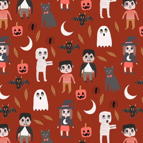Halloween town fabric, cute creepy scary Halloween fabric, ghost fabric, witch fabric, cat fabric - rust