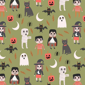 Halloween town fabric, cute creepy scary Halloween fabric, ghost fabric, witch fabric, cat fabric - greEn