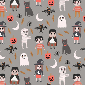 Halloween town fabric, cute creepy scary Halloween fabric, ghost fabric, witch fabric, cat fabric - grey