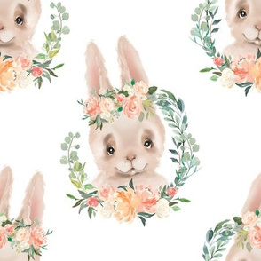 peach and coral floral silly rabbit 6""