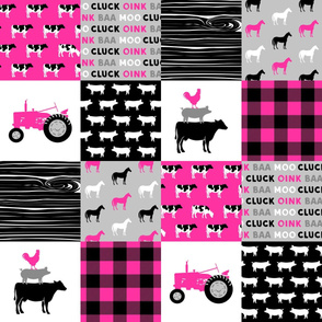 farm patchwork fabric - bright pink and black C19BS