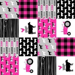 farm patchwork fabric - bright pink and black (90) C19BS
