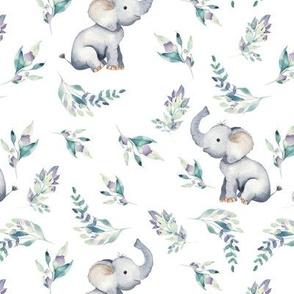 """7"""" Cute baby elephants and flowers, elephant fabric, elephant nursery 1-1"""