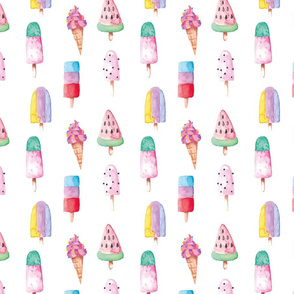 "7"" Trendy colorful watercolor Ice Cream Fabric, Summer Fabric, nursery fabric, summer popsicles fabric"