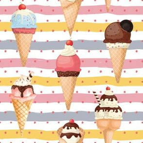 "7"" Watercolor Fruit Popsicles, Ice Cream, Popsicles fabric, ice cream fabric, summer fabric 5-1"