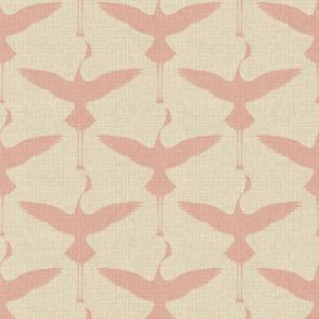 Flamingos on Natural Linen