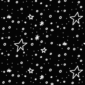 The Stars are Out Tonight (white on black)