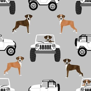 boxer dog fabric - white and grey fabric, boxer dog fabric