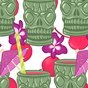Tiki Skull Cups and Cherries on White - Large