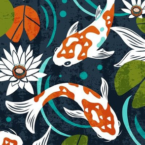 Koi Pond - Large Scale Navy Orange