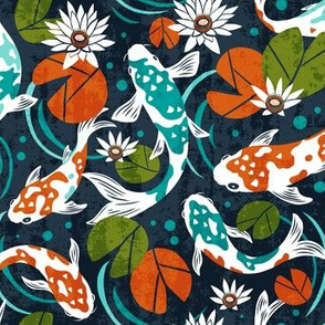 Koi Pond - Medium Scale Navy Orange