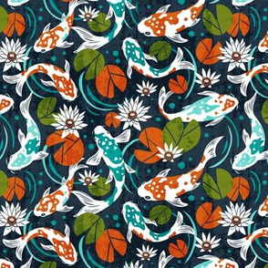 Koi Pond - Small Scale Navy Orange