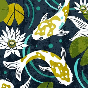 Koi Pond - Large Scale Navy Green
