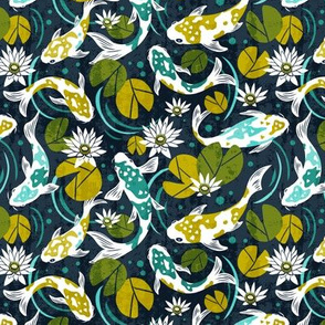 Koi Pond - Small Scale Navy Green