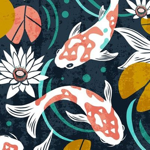 Koi Pond - Large Scale Navy Pink
