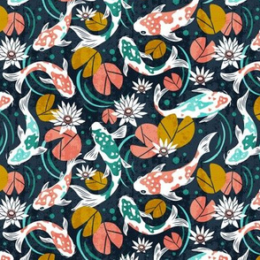 Koi Pond - Small Scale Navy Pink