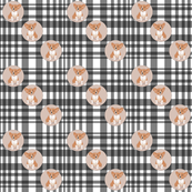 corgi dot on plaid