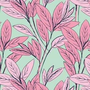 Lush leaves autumn tree leaf garden vibes and fall dreams mint green pink