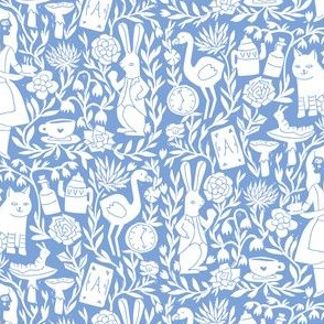 alice in wonderland linocut - linocut fabric, block print fabric, storybook fabric, andrea lauren fabric, andrea lauren design -  blue