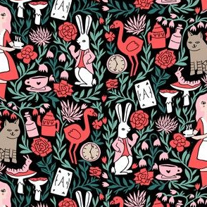 alice in wonderland linocut - linocut fabric, block print fabric, storybook fabric, andrea lauren fabric, andrea lauren design -  red and pink