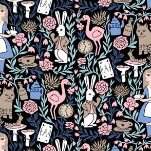 alice in wonderland linocut - linocut fabric, block print fabric, storybook fabric, andrea lauren fabric, andrea lauren design - pink and blue