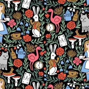 alice in wonderland linocut - linocut fabric, block print fabric, storybook fabric, andrea lauren fabric, andrea lauren design - multi