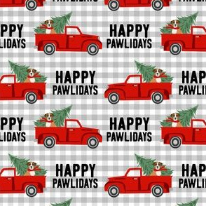 boxer dog christmas truck fabric - dog christmas fabric, boxer dog fabric, boxer dog christmas fabric - plaid happy pawlidays