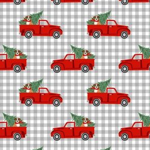 boxer dog christmas truck fabric - dog christmas fabric, boxer dog fabric, boxer dog christmas fabric - plaid