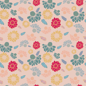 Colorful Flowers & leaves Pattern on bright colors
