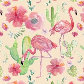 Tropical Flowers and Flamingoes