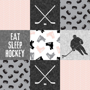 Eat Sleep Hockey - Ice Hockey Patchwork - Hockey Nursery - Wholecloth pink, black, and grey - LAD19