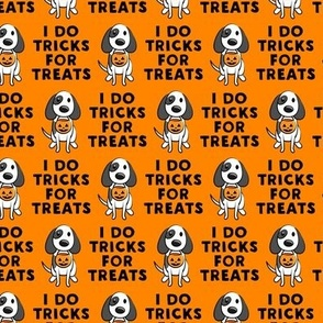 (small scale) I do tricks for treats - dog halloween - orange - LAD19BS