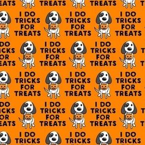 (small scale) I do tricks for treats - dog halloween - orange - LAD19BS
