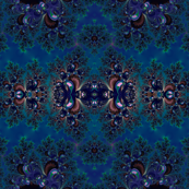 Midnight Blue Frost Fractal Abstract
