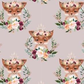 floral fox pink background