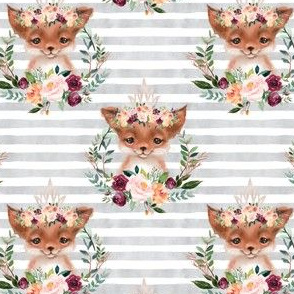 floral fox with gray stripes