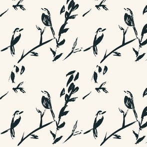 Birds and Branches, Brushed Ink on Cream