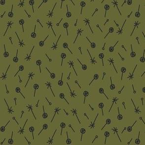 Floaties (dark green on olive)