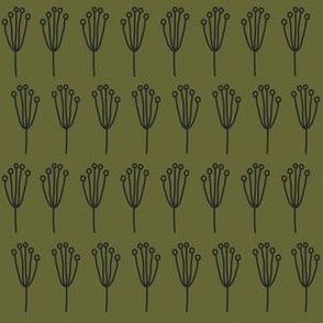 Blossom Clusters (dark green on olive)