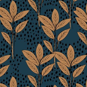 Lush leaves tree and rain leaf garden vibes and fall winter navy coffee brown