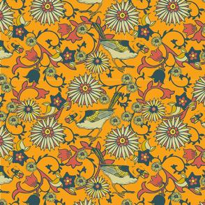 Birds and Flowers - mustard