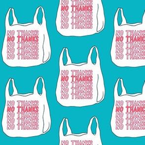 no thanks plastic bag - teal