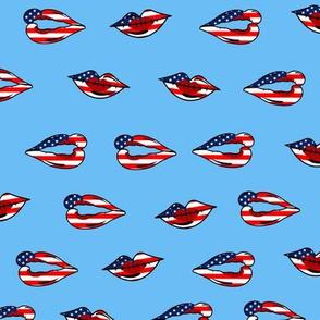 american flag lips blue