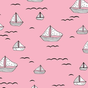 Summer sea little sailing boat and tiny ships and waves on water pink girls