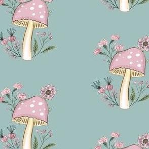 blue Mushroom and flowers