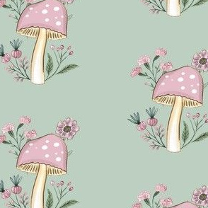 Mushrooms and Flowers on Green Background