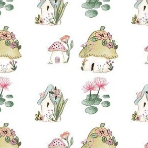 Fairy House and Lily Pads on White
